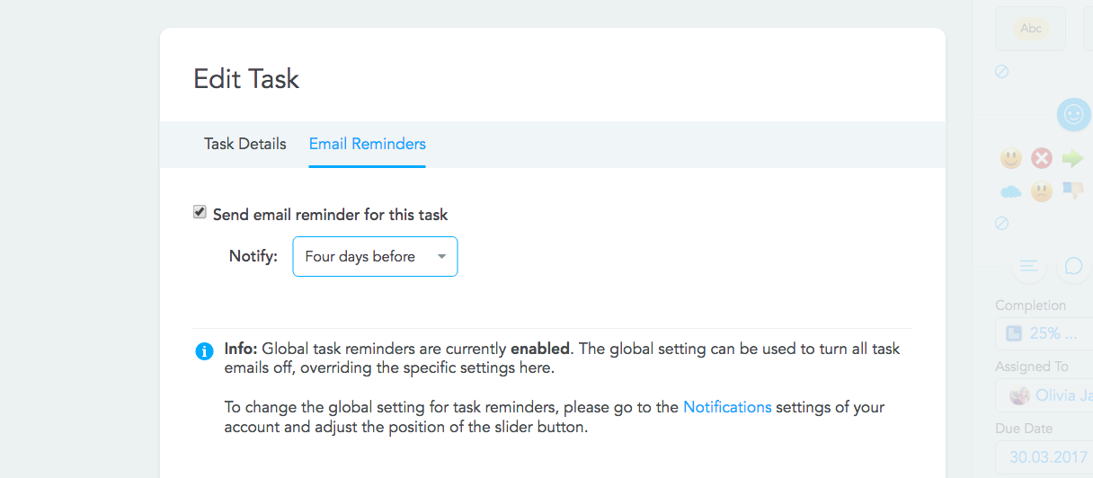 Email reminders in MindMeister