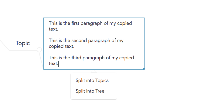 Splitting pasted text into multiple topics