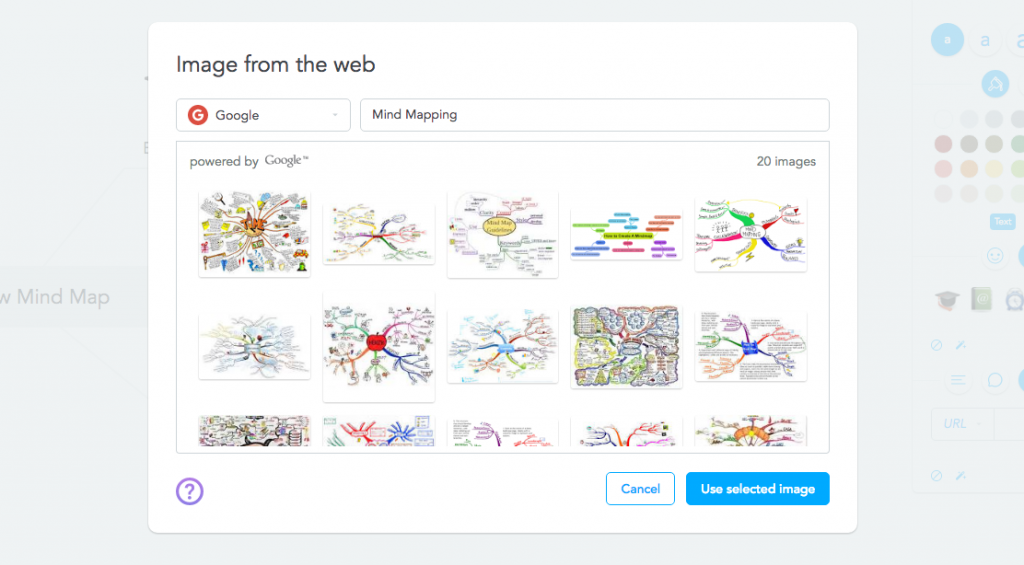 Inserting images from Google into your mind map