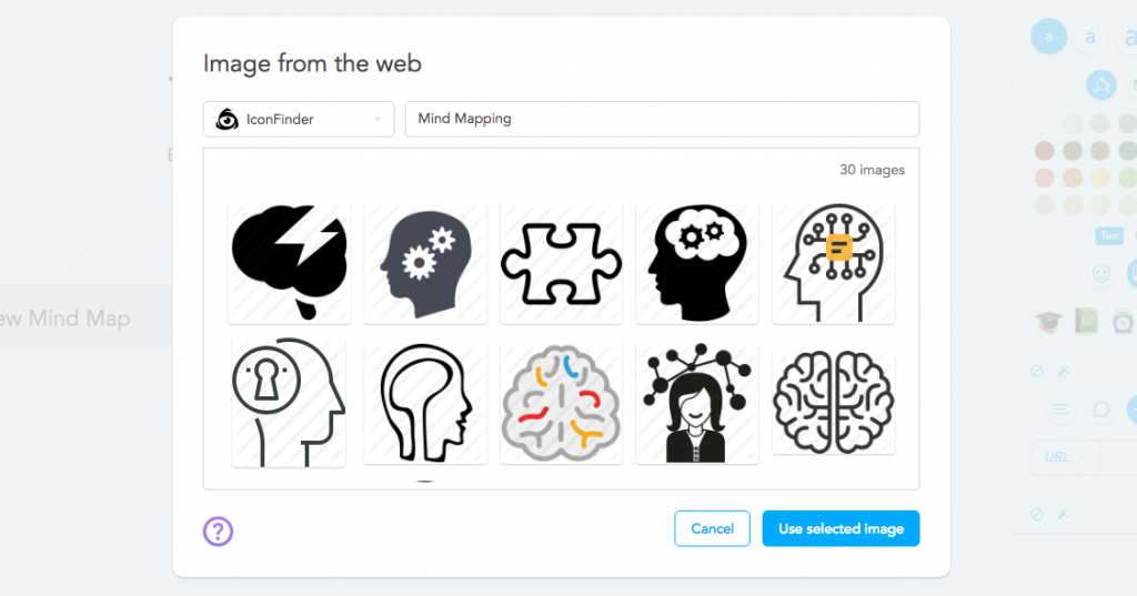 Using IconFinder to insert images into your mind map