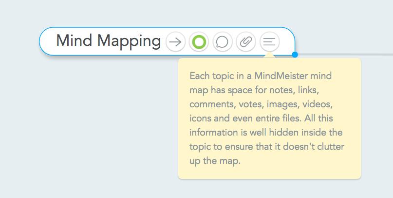 Storing information inside digital mind maps