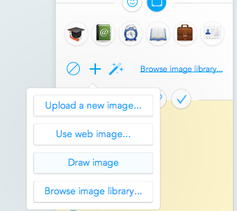 "Select ""Draw image"" from the image widget in the sidebar"