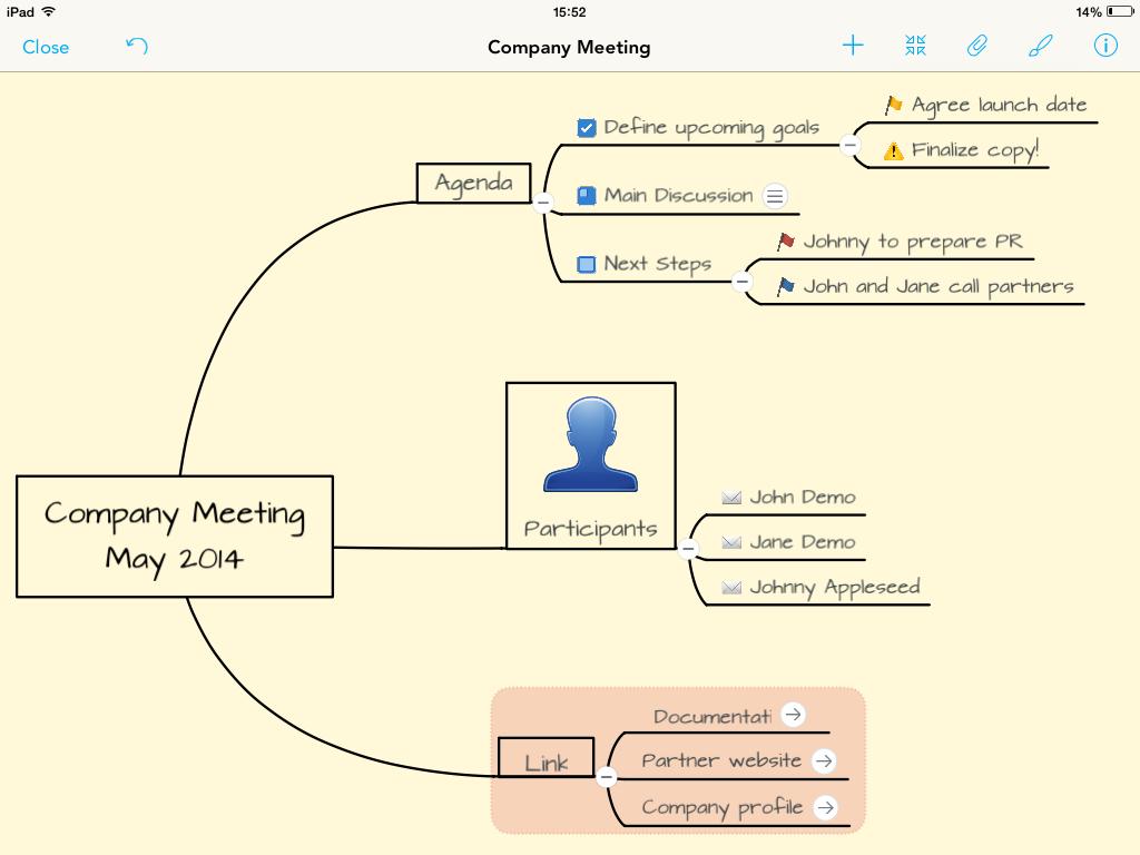 MindMeister's hand-drawn mind map theme on iPad