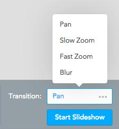 MindMeister's presentation mode lets you set different transitions for your slides