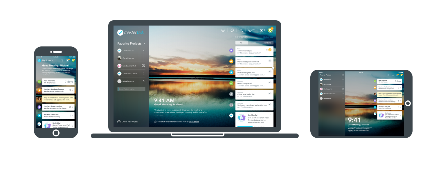 MeisterTask on iPhone, iPad and MacBook - task management