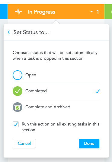 Step 3: Applying Section Action to Existing Tasks