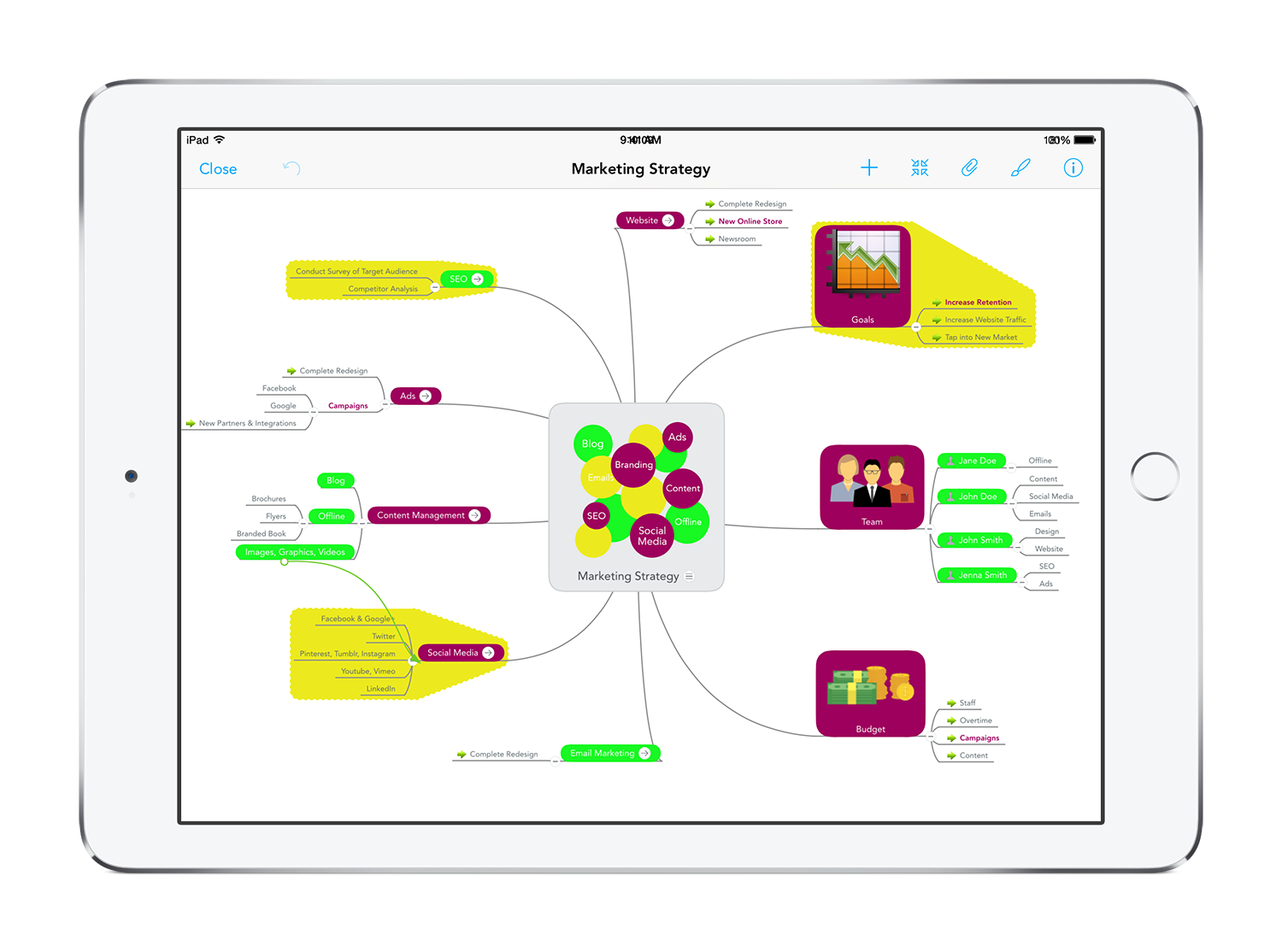 MindMeister for the iPad - free mobile mind mapping app