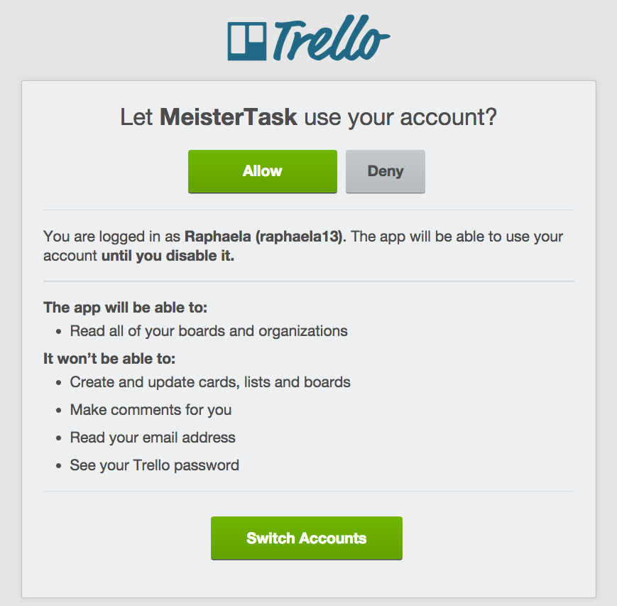 Authorize MeisterTask to access your Trello account