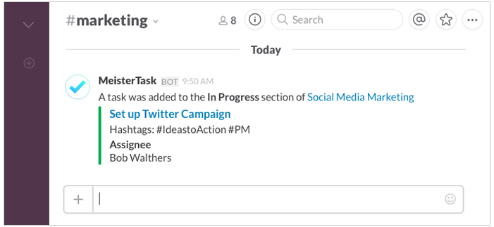 MeisterTask message in Slack