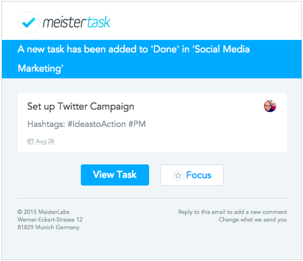 MeisterTask Email Section Actions
