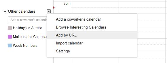 Adding an iCal feed to Google Calendar - sync tasks to calendar