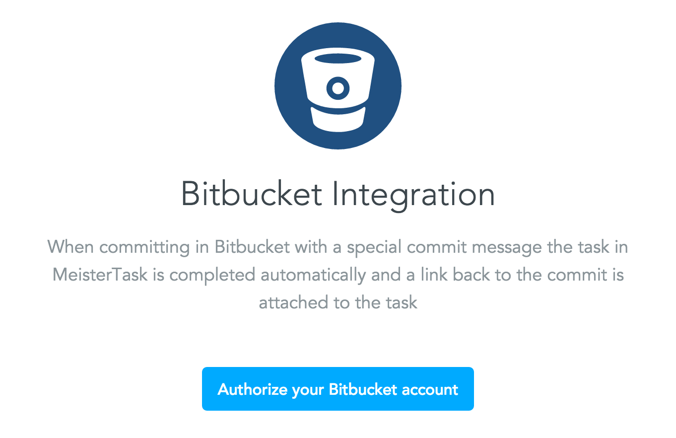 Enabling the BitBucket integration in MeisterTask - Step 2