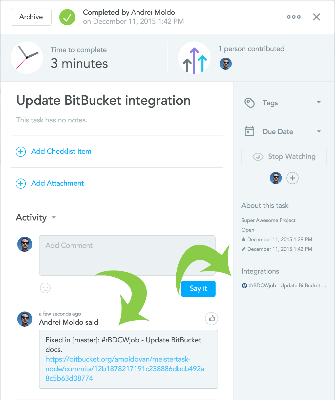Completing a task via Bitbucket