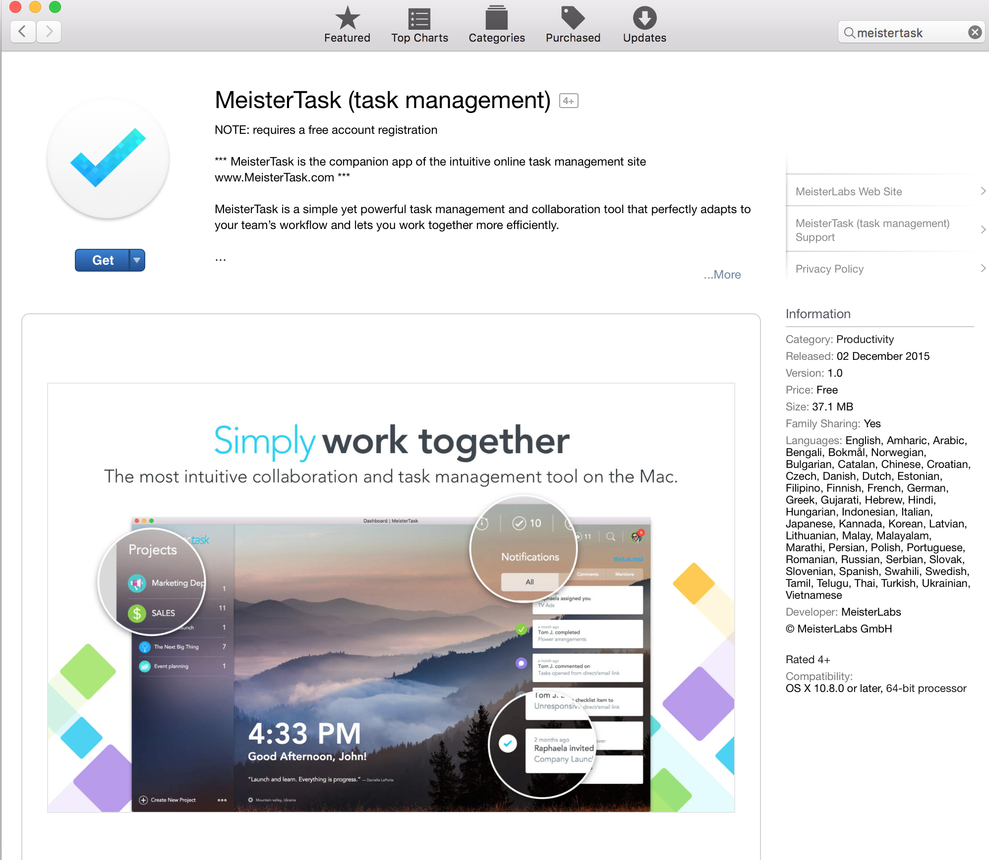 MeisterTask for Mac