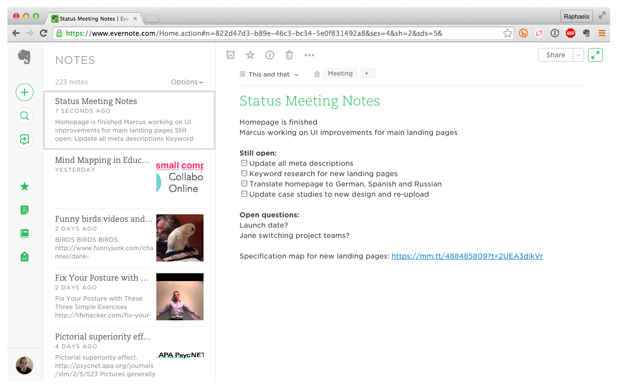 Creating Tasks in Evernote