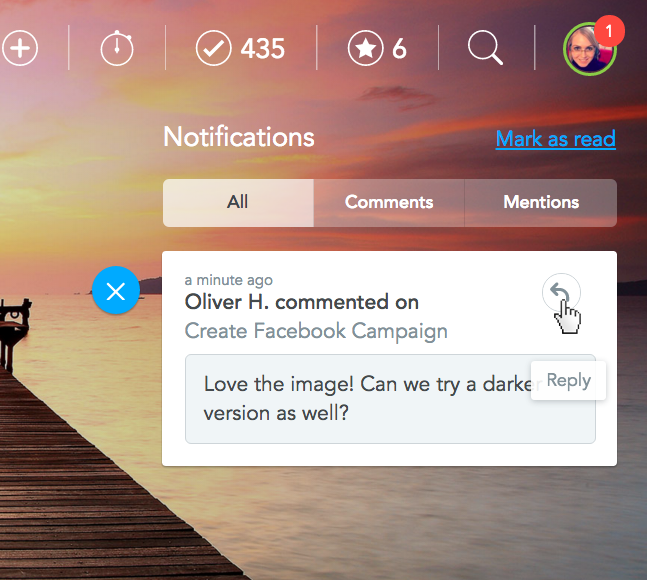 Direct reply to notifications in MeisterTask