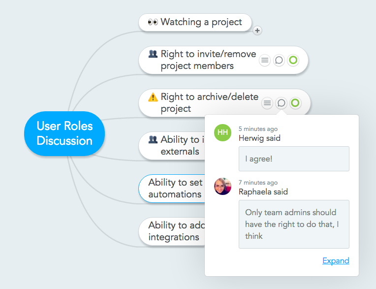 Discuss ideas, features and plans with the project team