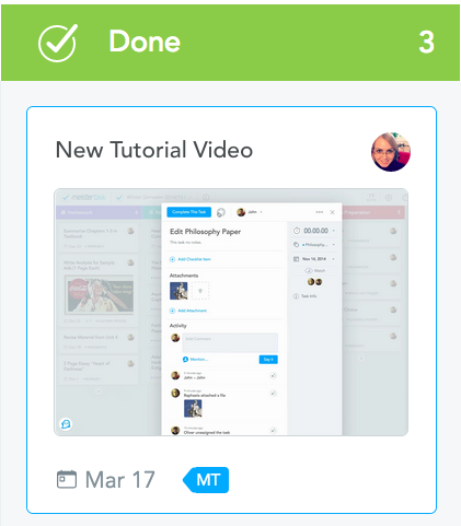 Video Thumbnails in MeisterTask