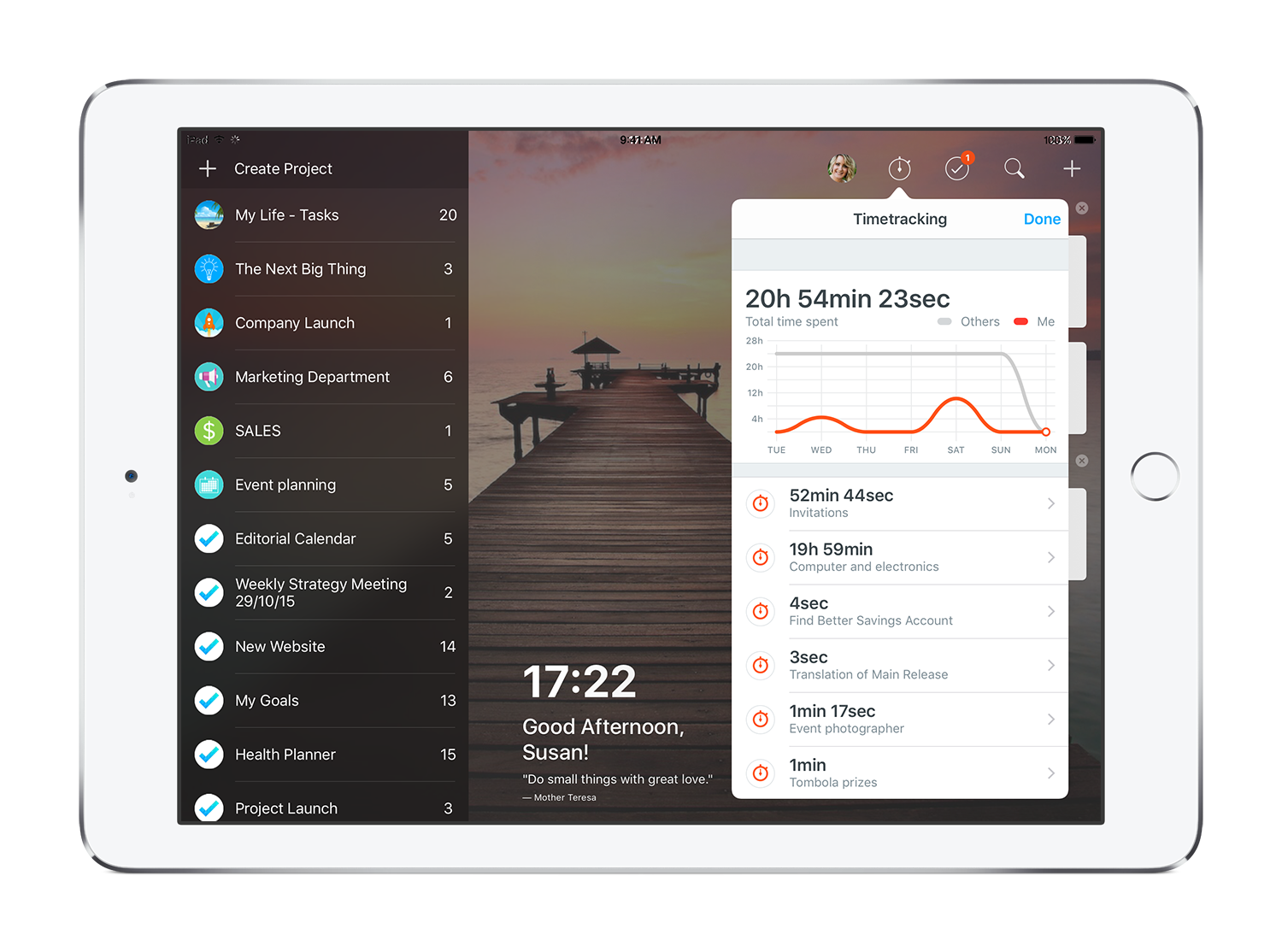 MeisterTask Time Tracking on iPad - task management for iOS