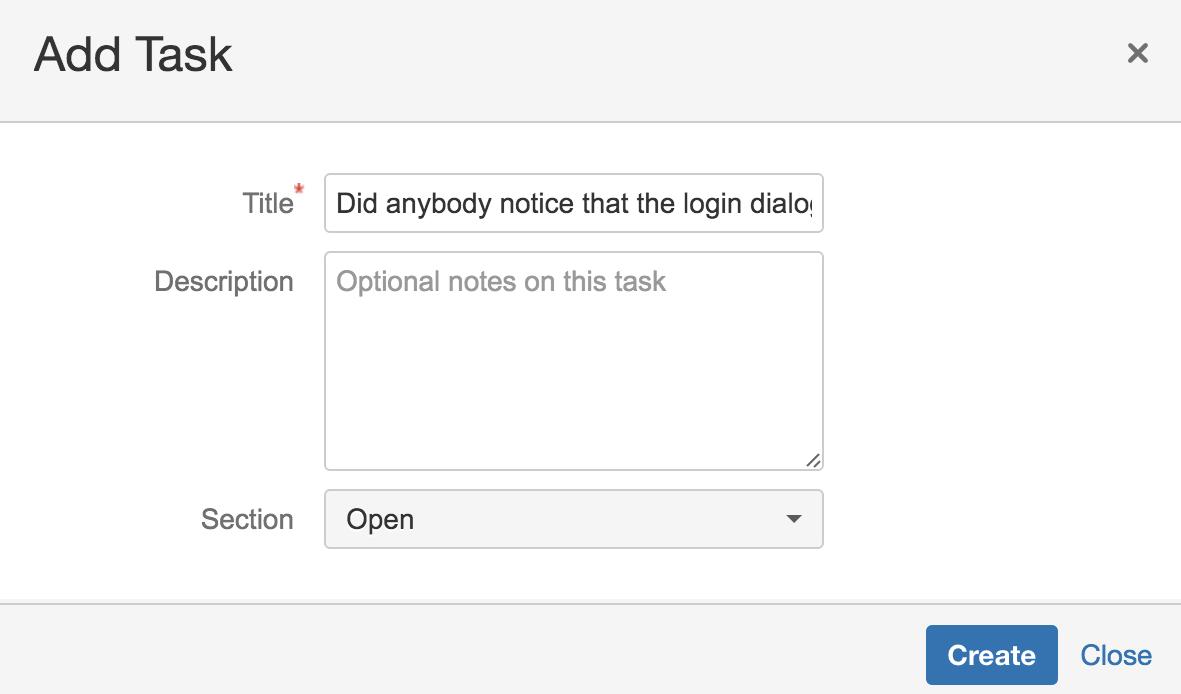 MeisterTask HipChat - Task create dialog