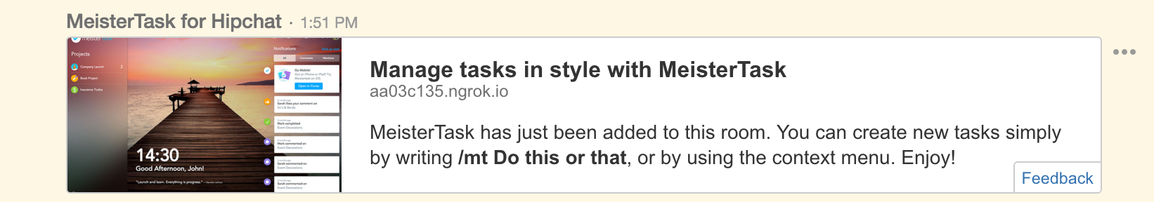 MeisterTask HipChat welcome message
