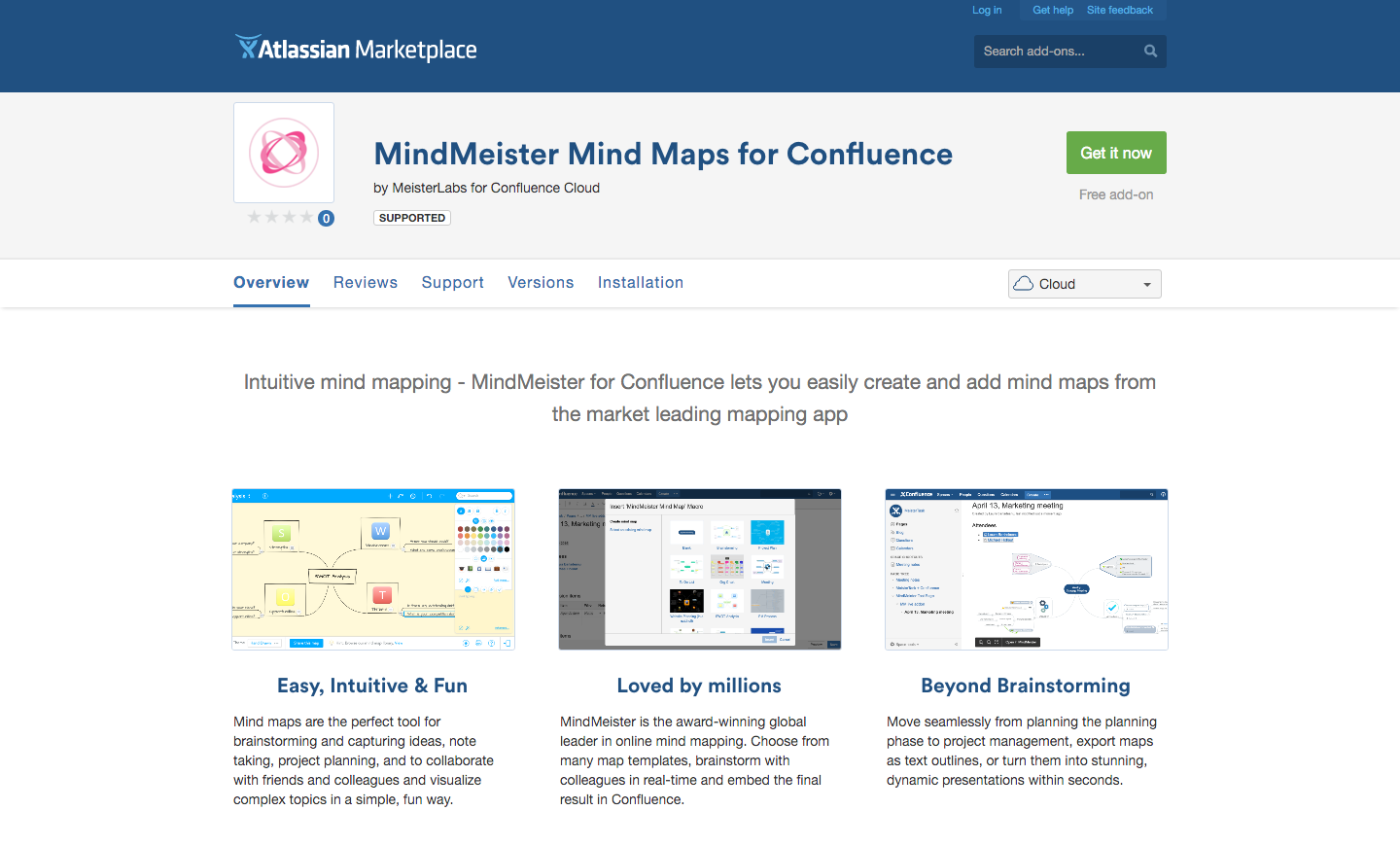 The MindMeister add-on, available in the Atlassian Marketplace