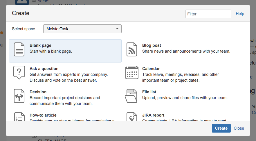 Create a new page in Confluence