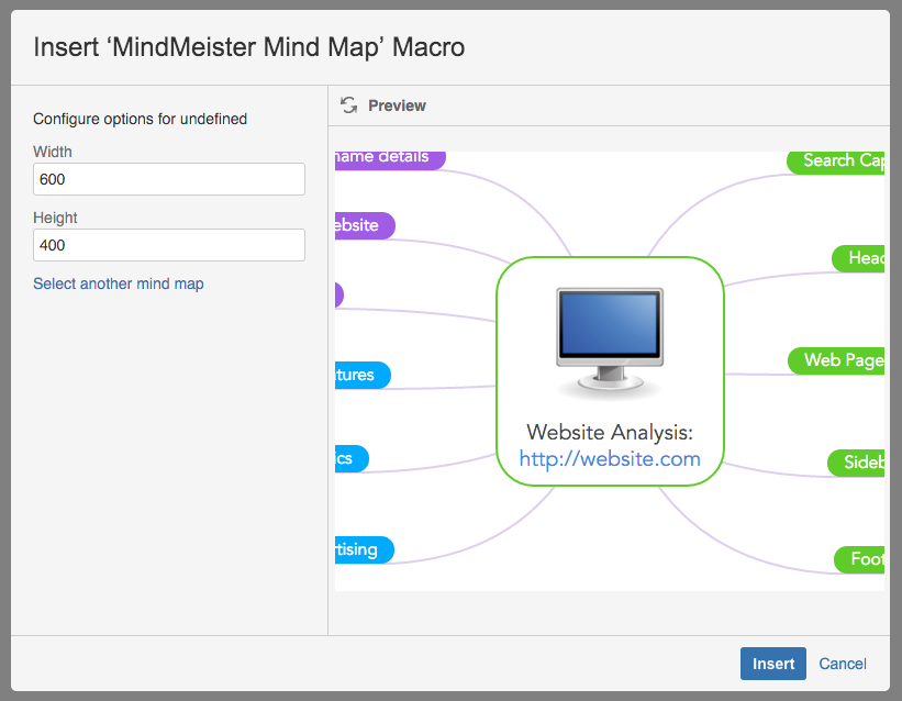 Select the hight and width for your mind map