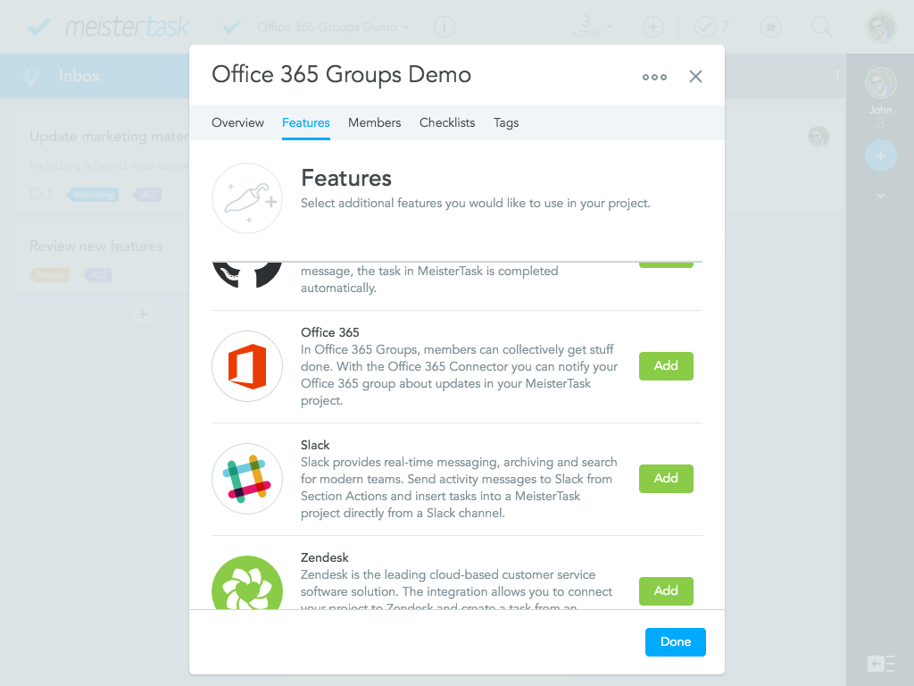 Adding Microsoft Office 365 Groups to your integrations - MeisterTask to Microsoft Office