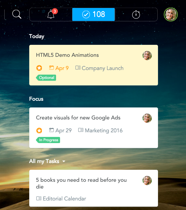 Quickly switch between notifications, tasks and time tracking