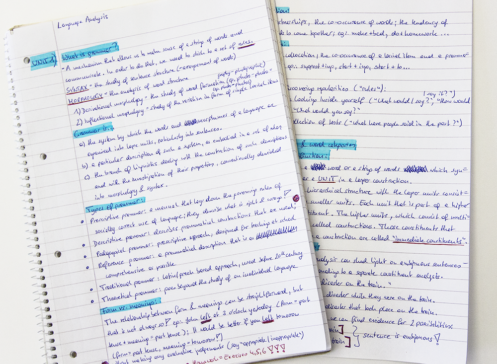 Linear hand-written notes
