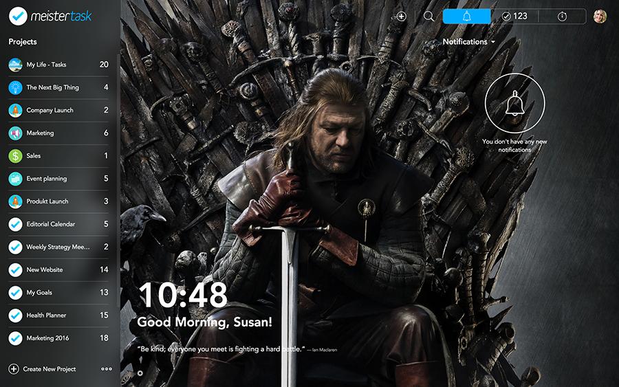 Custom Backgrounds in MeisterTask (Dashboard)