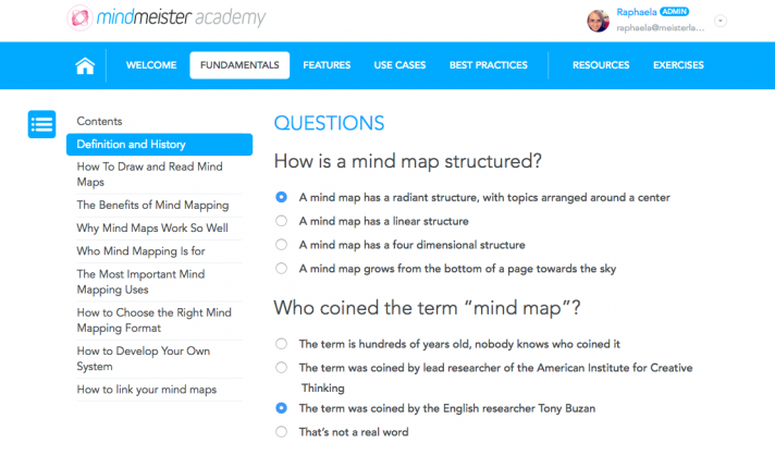 MindMeister's free online mind map training