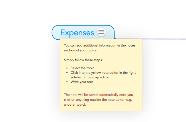Add additional information in the note section