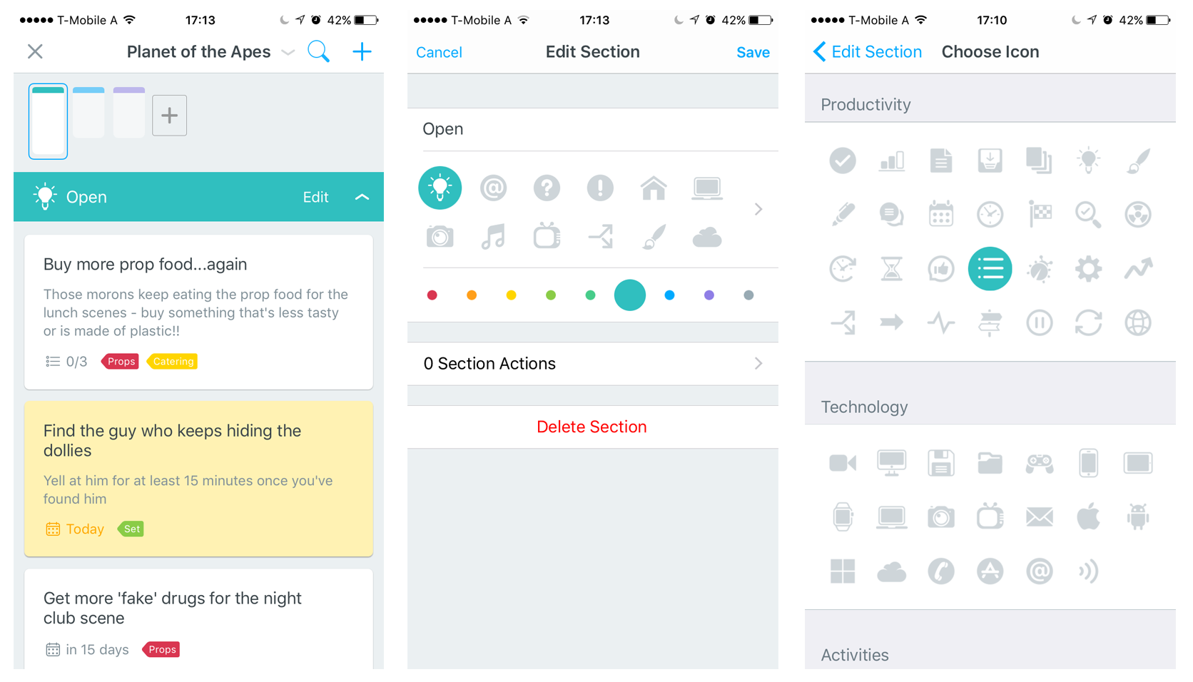 How to change section icons in MeisterTask for iOS