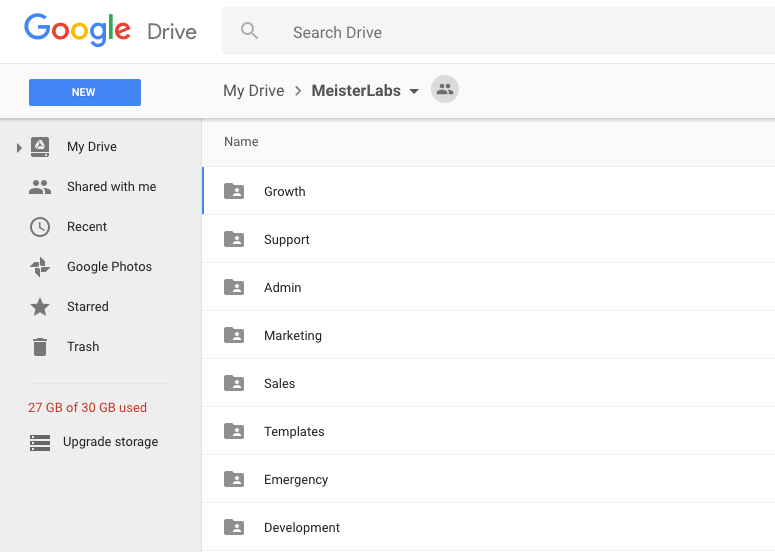 Basic folder structure in Google Drive