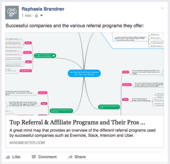 Sharing mind maps on Facebook