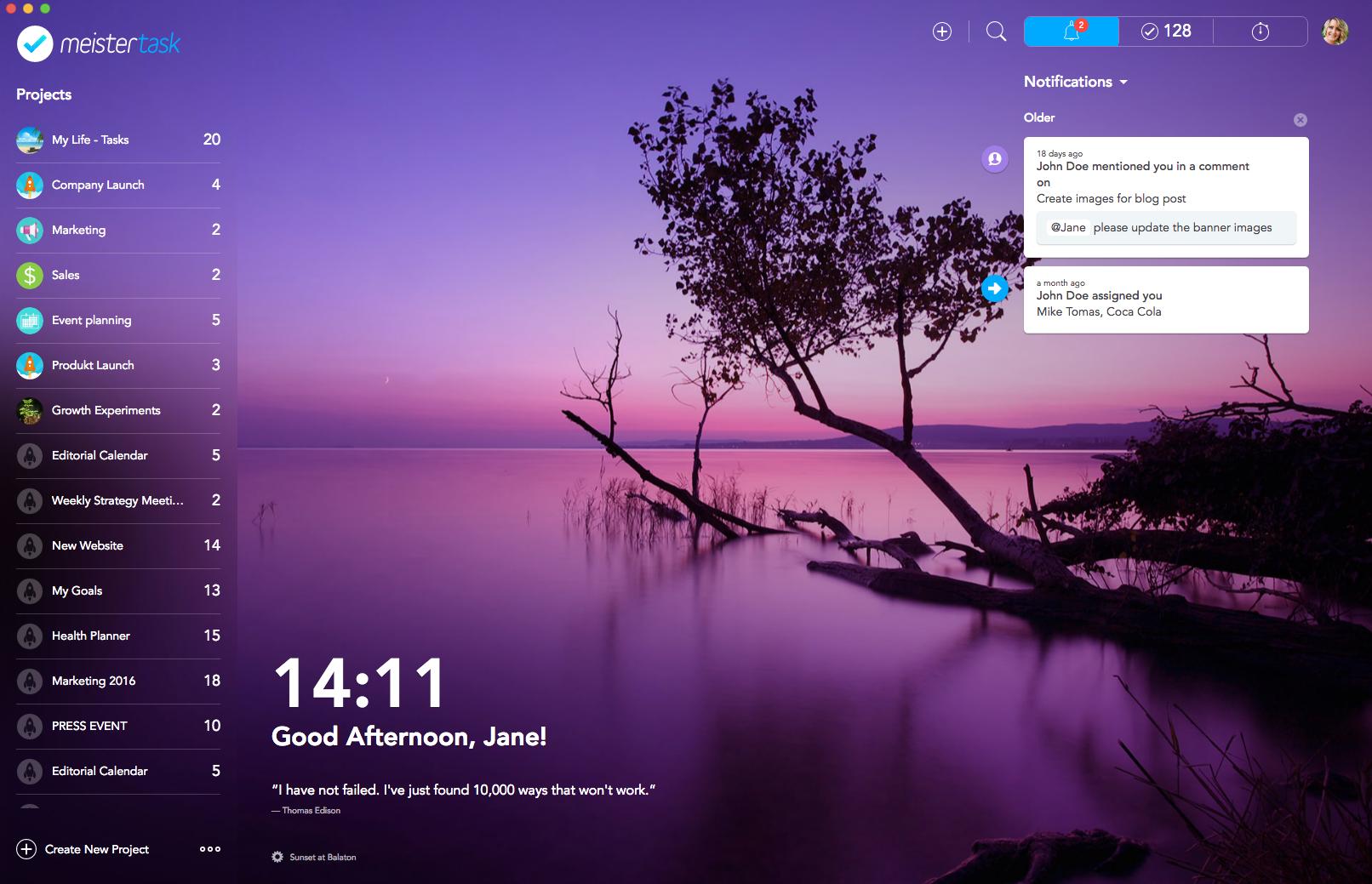 MeisterTask for Mac App - Dashboard