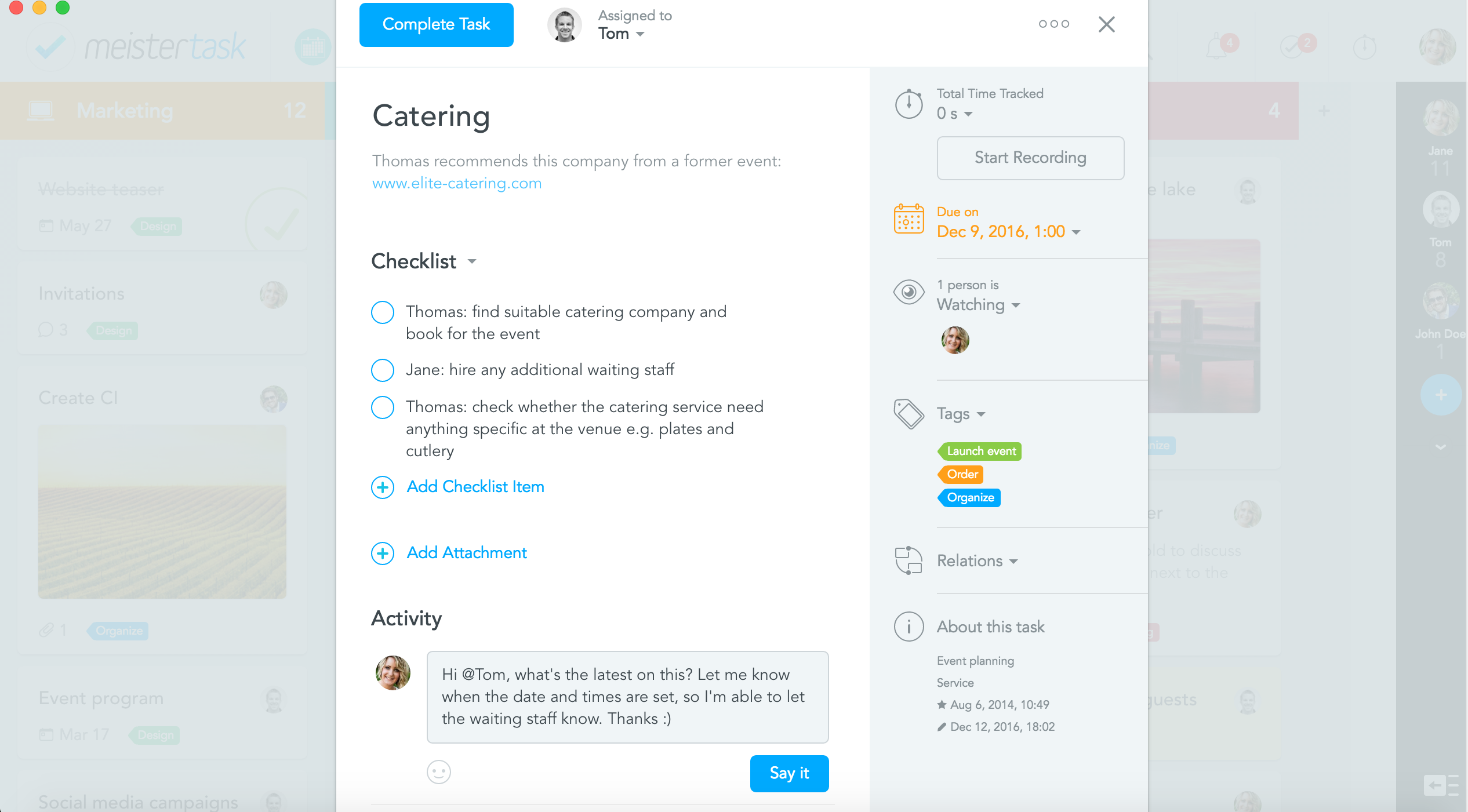 collaborative project management with meistertask-comment-feature