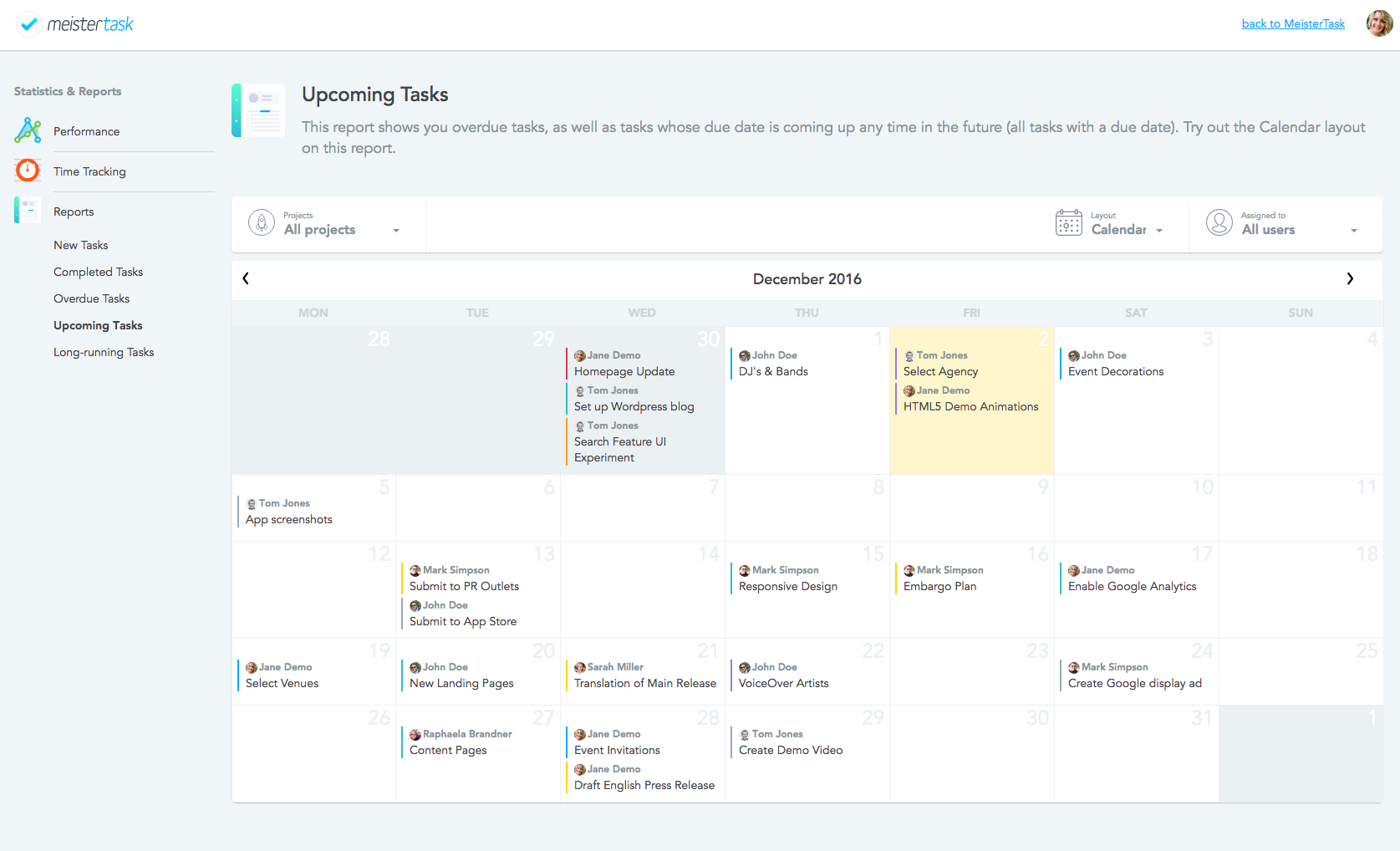 Statistics and reports: Upcoming tasks report in calendar view
