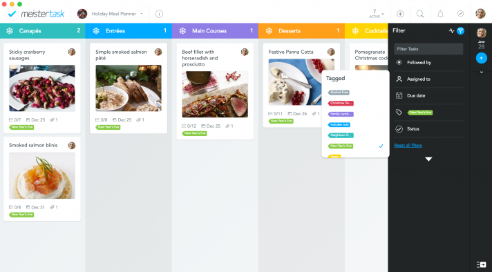 tag recipe planner by dates in MeisterTask