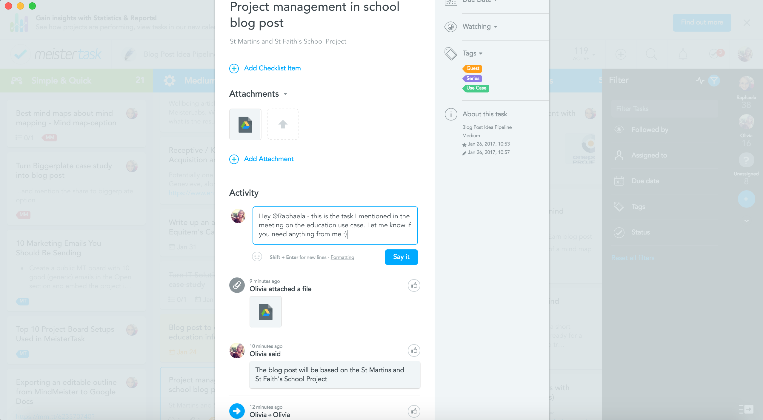 school project management with communication via MeisterTask