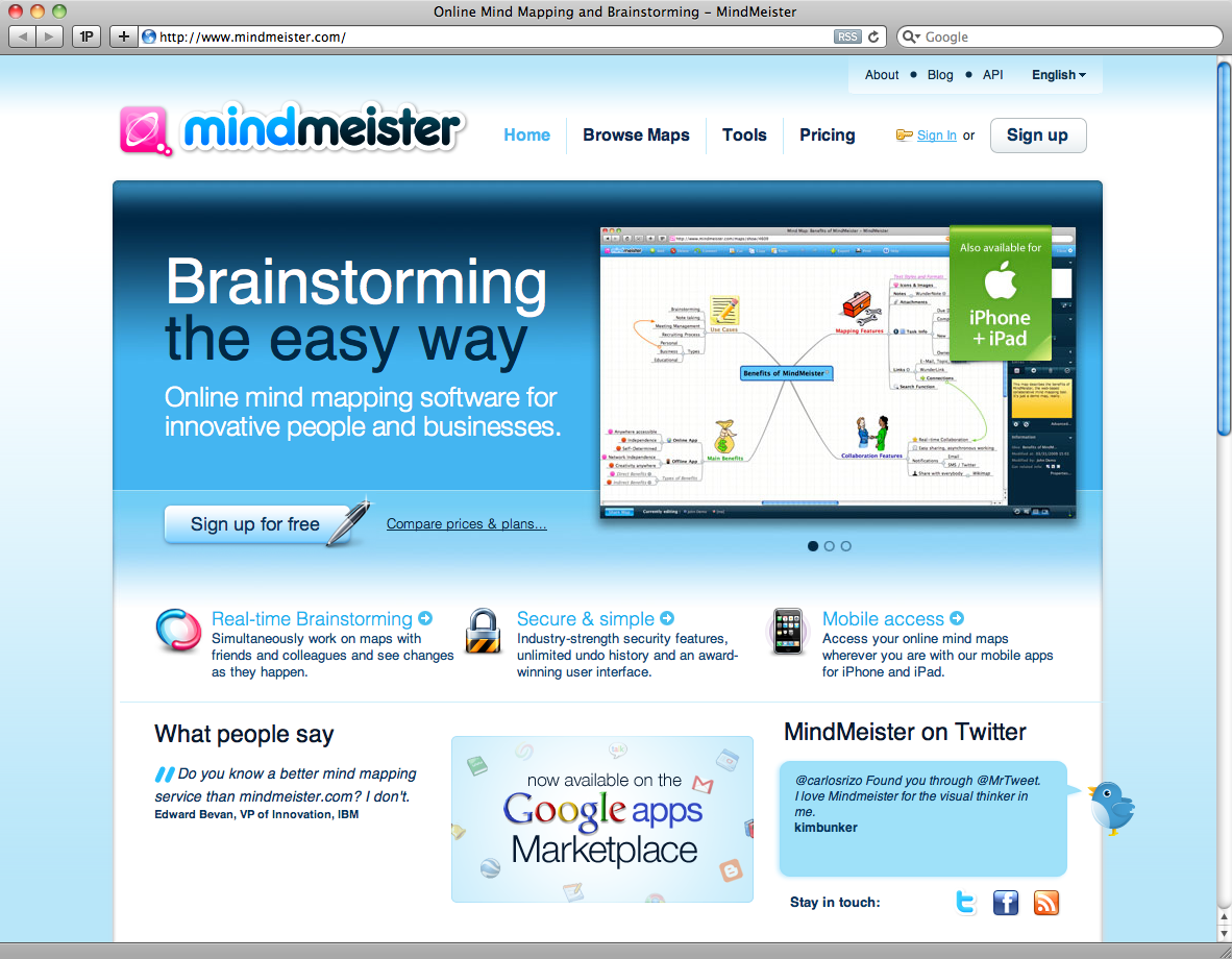 MindMeister homepage from 2009: This time with Helvetica