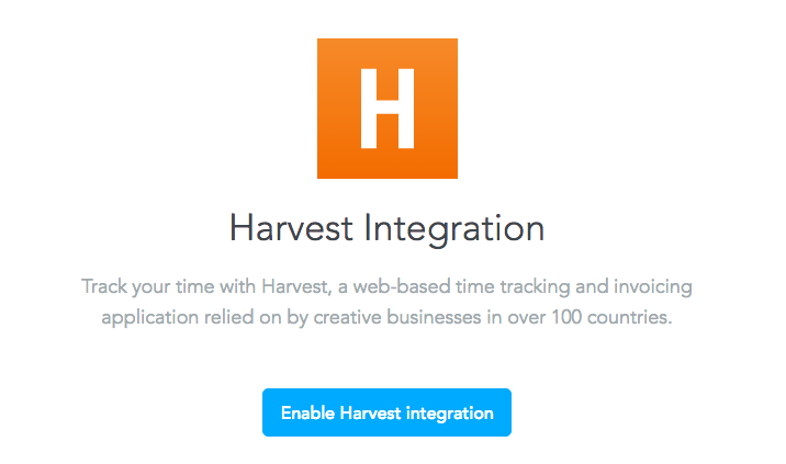 Harvest integration page