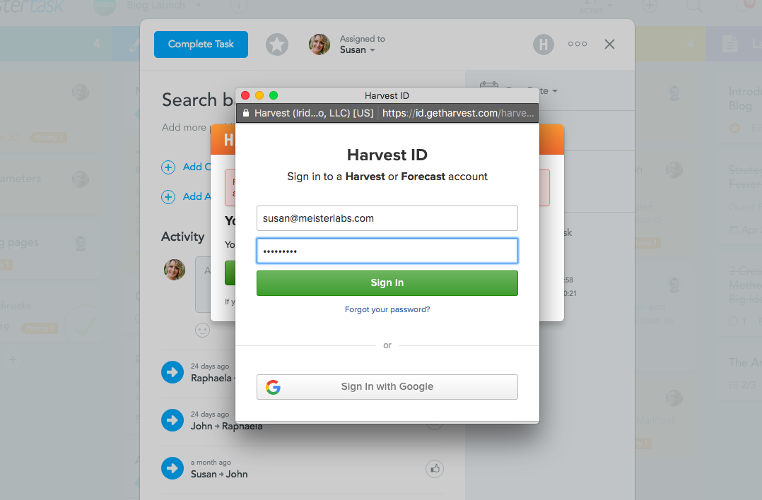 Sign in to your Harvest account
