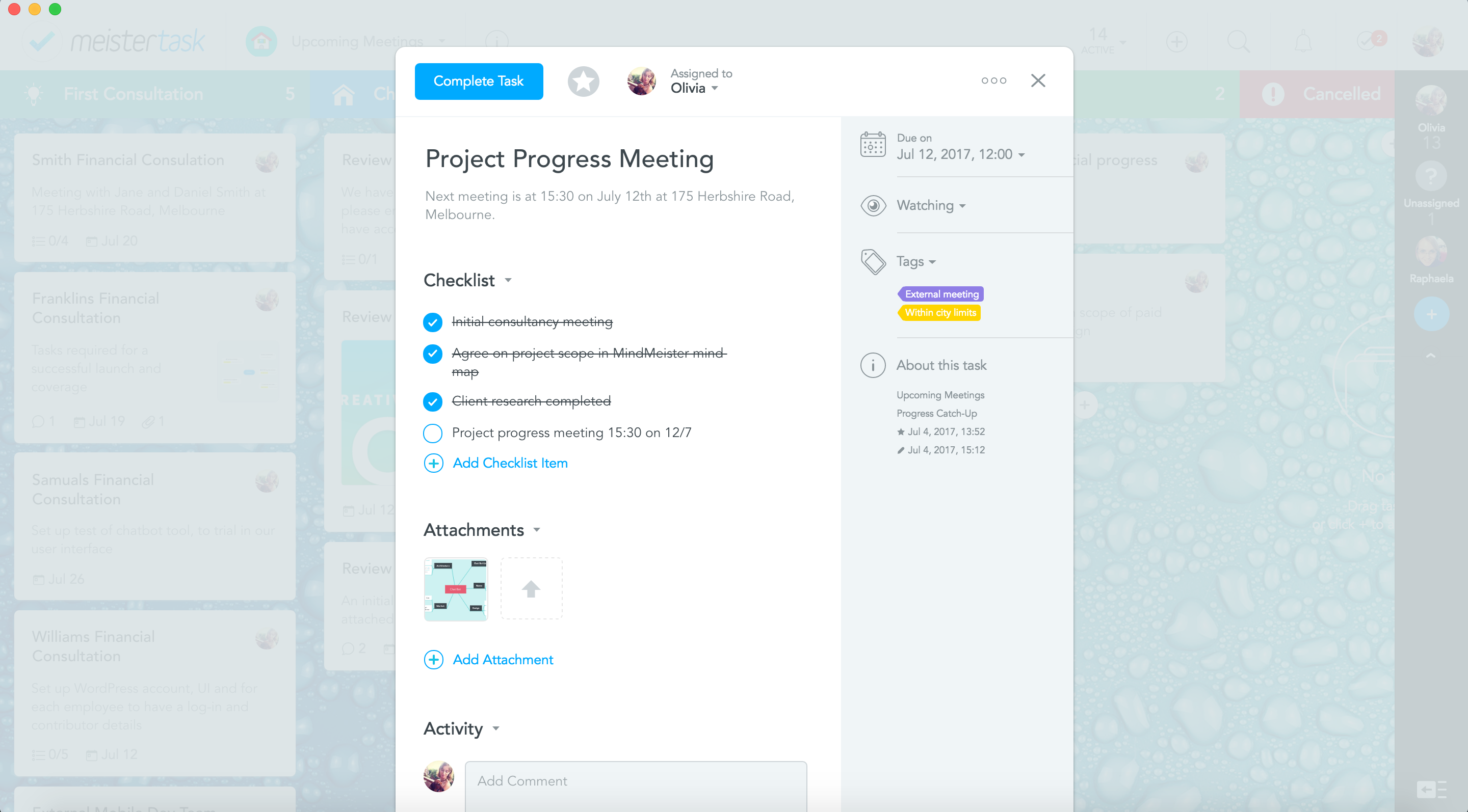 meeting calendar in meistertask with zapier
