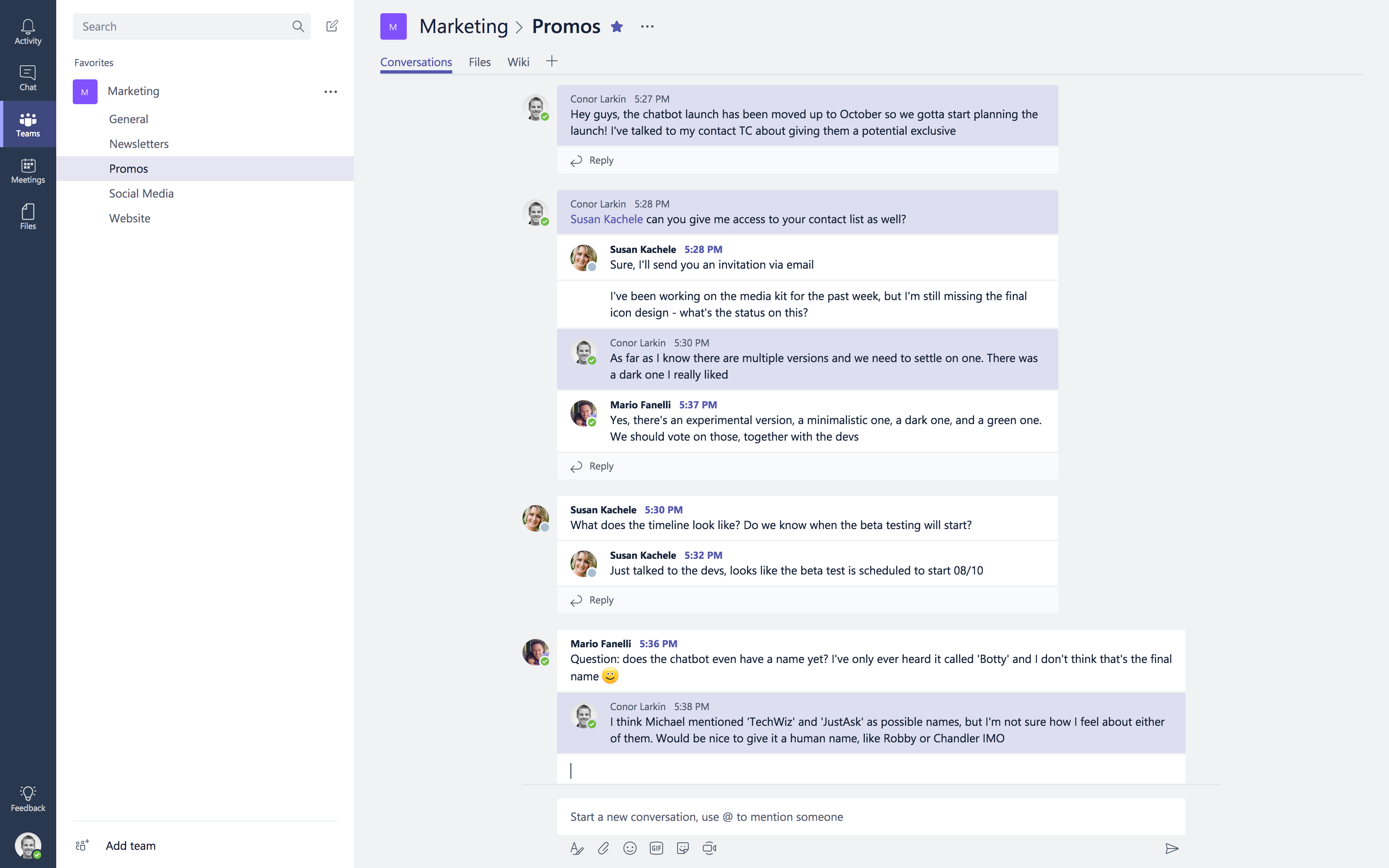 Chatting in Microsoft Teams