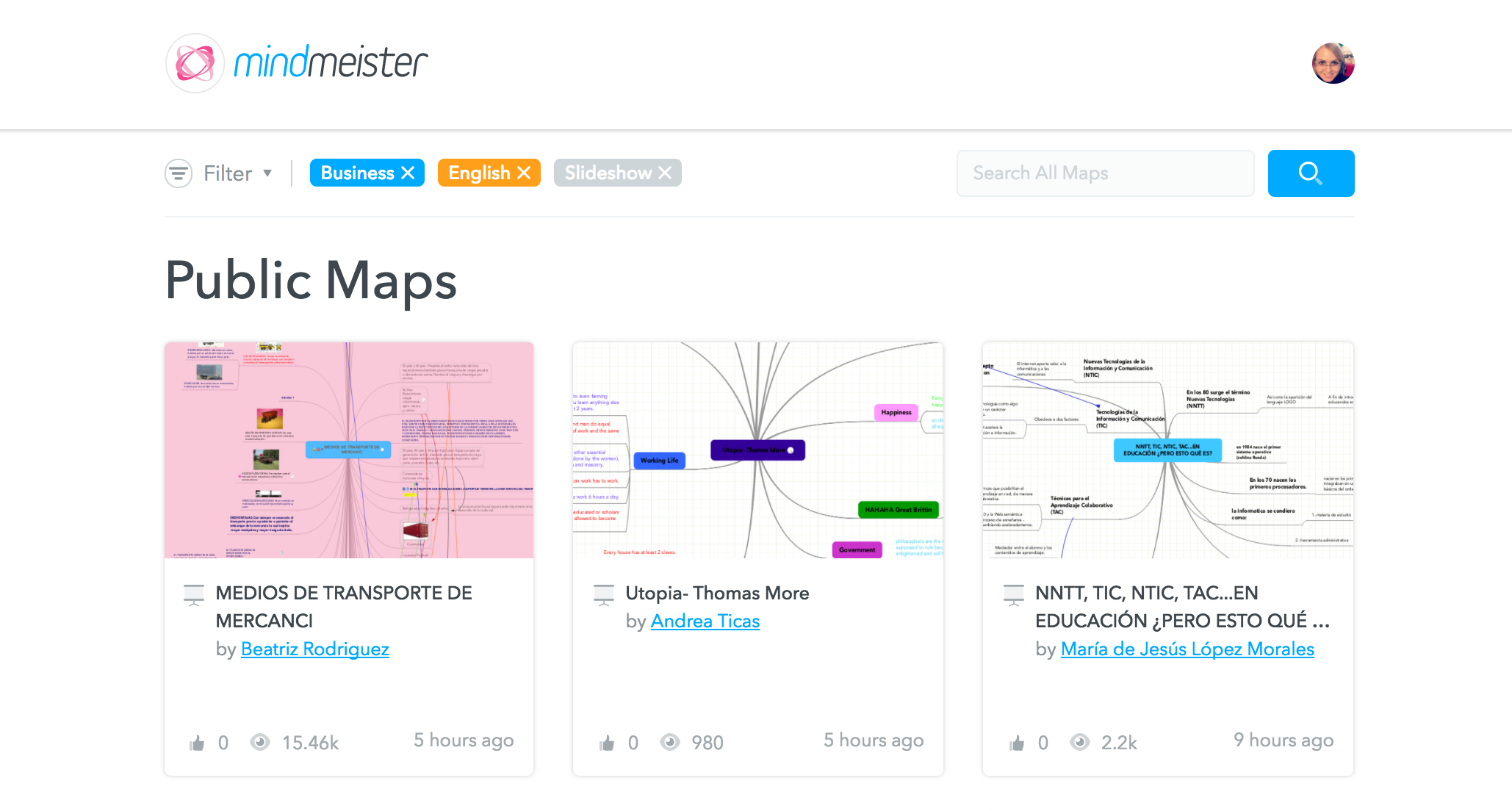 Filter options in MindMeister's public map library
