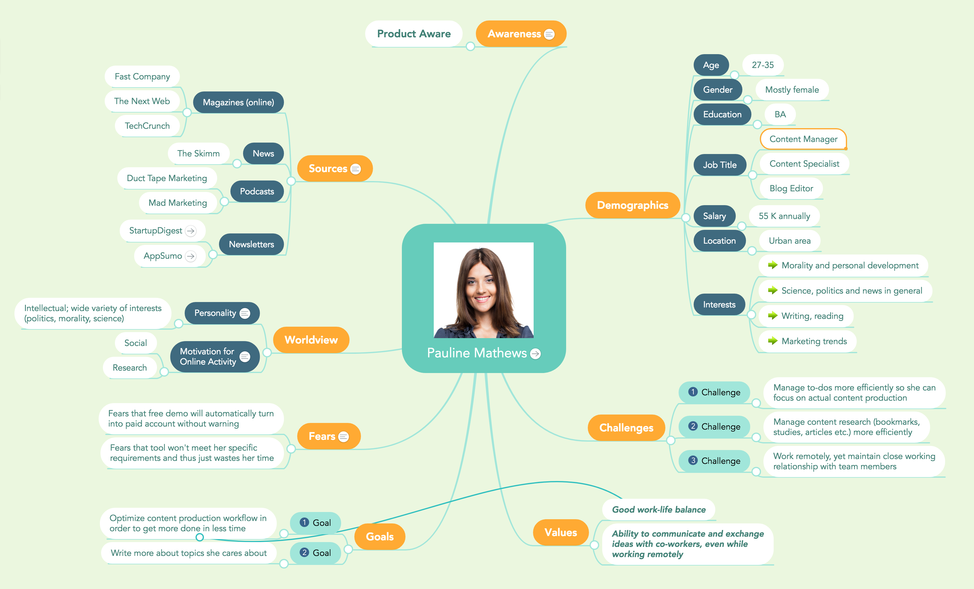 Marketing Persona Mind Map