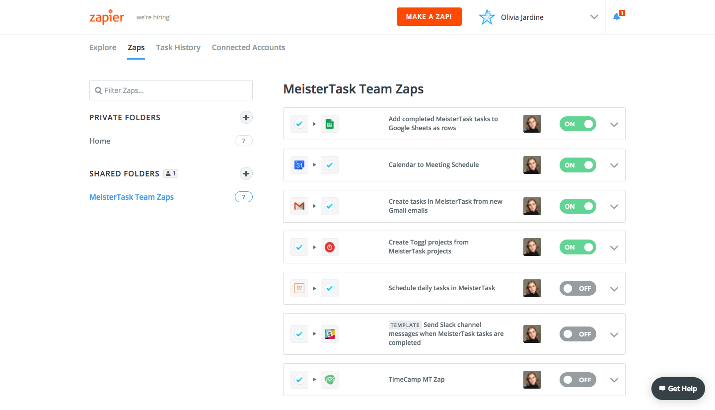 Zapier for teams MeisterTask productivity